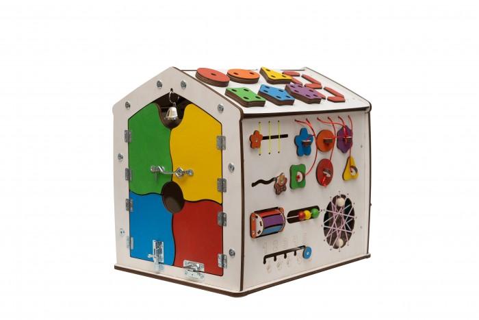 Деревянная игрушка Evotoys Бизиборд домик Знайка Космос Миди