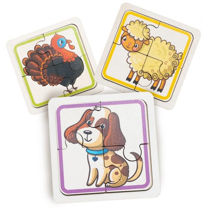 Деревянная игрушка Evotoys Пазлы для малышей Домашние животные
