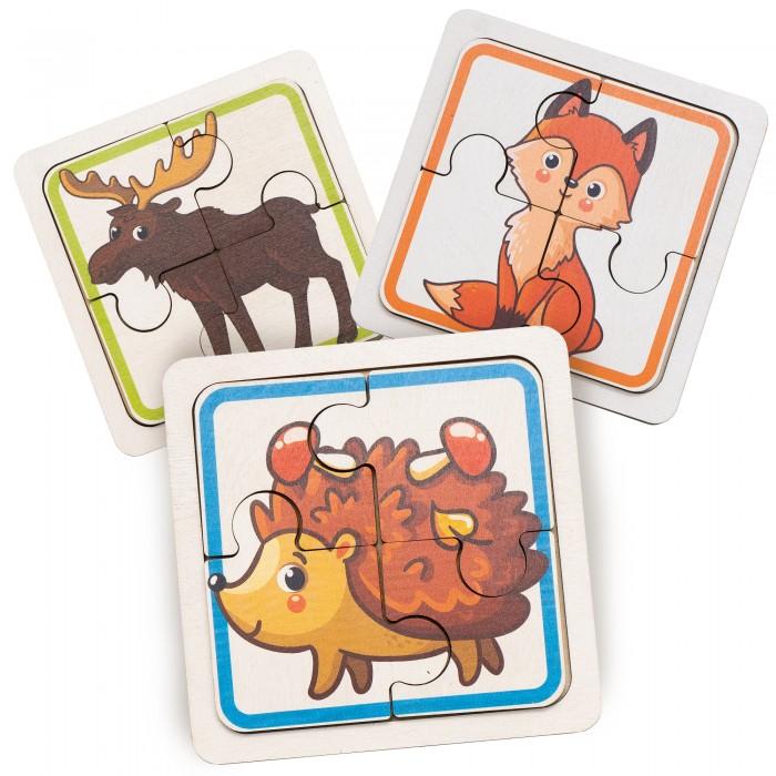Деревянная игрушка Evotoys Пазлы для малышей Лесные зверушки