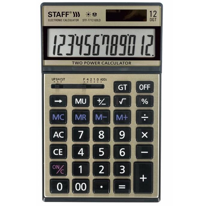 Купить Канцелярия, Staff Калькулятор настольный STF-7712-Gold 12 разрядов