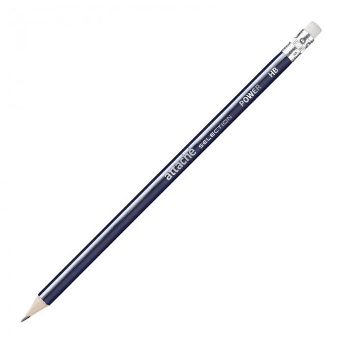 Карандаши, восковые мелки, пастель Attache Карандаш чернографитный Power HB с ластиком