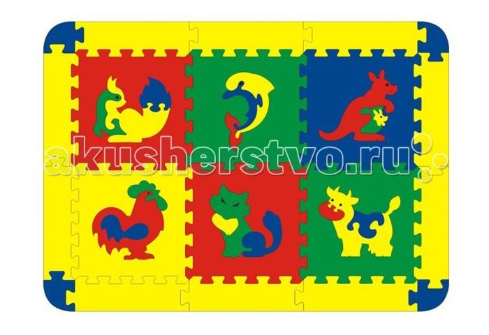 Игровые коврики Флексика с животными 6 деталей коврик напольный vortex вологодский 20092