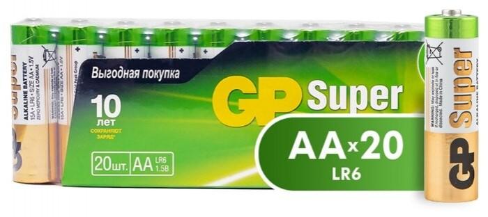 Батарейки, удлинители и переходники GP Набор батареек Super Alkaline АА (LR6) 20 шт.