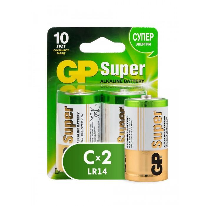 батарейки c lr14 24шт gp щелочные 14a os2 24 Батарейки, удлинители и переходники GP Батарейка Super Alkaline С (LR14) алкалиновая 2 шт.