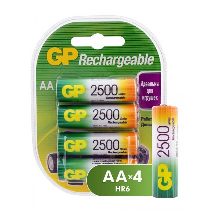 Батарейки, удлинители и переходники GP Аккумуляторы ёмкостью 2500мАч AA (250AAHC-2DECRC4) 4 шт.