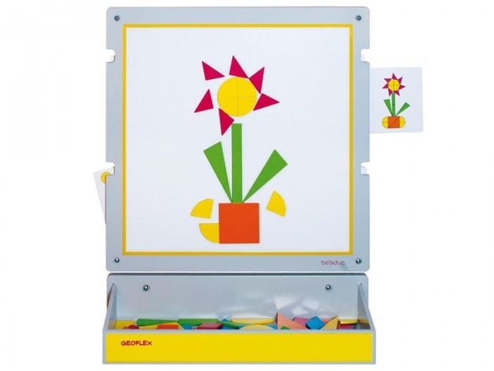 Beleduc Настенный игровой элемент ГеофлексНастенный игровой элемент ГеофлексBeleduc Настенный игровой элемент Геофлекс для детей старше 3-х лет.   Настенный игровой элемент элемент Геофлекс состоит из 60 разноцветных магнитных форм, самого настенного элемента и 12 карточек с заданиями. 12 карточек с заданиями представлены в двух различных уровнях сложности.   На уровне 1 и уровне 2 используются одни и те же изображения, но различаются комбинацией форм.  В комплекте: 1 настенный игровой элемент,  12 карточек с заданиями,  1 настенная панель,  60 магнитных форм,  1 инструкция с набором 30 дополнительных заданий  Размеры: Настенный элемент: 60 х 60 х 1,5 см  Настенная панель: 60 х 19 х 12 см<br>