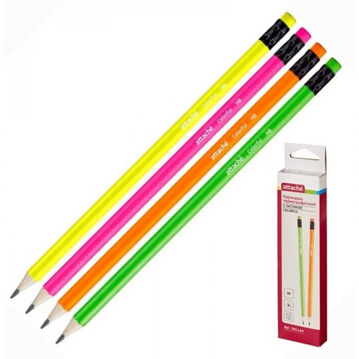 Карандаши, восковые мелки, пастель Attache Карандаш чернографитный с ластиком Colorful HB