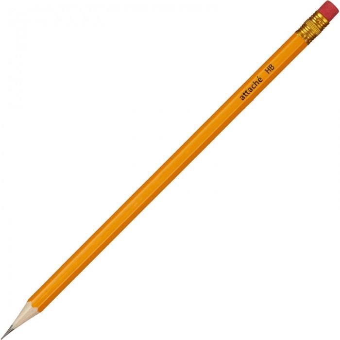 Карандаши, восковые мелки, пастель Attache Карандаш чернографитный с ластиком HB 1078921