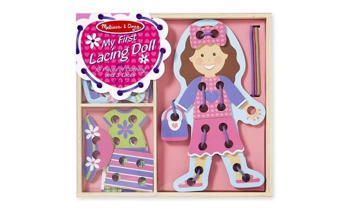 Деревянные игрушки Melissa & Doug Первые навыки Моя первая шнуровка Кукла