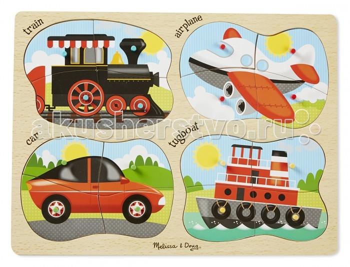 Деревянные игрушки Melissa & Doug Пазл Транспорт 4 в 1 развивающие деревянные игрушки пазл для малышей теремок 4 в 1