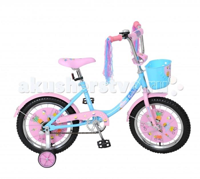 Велосипед двухколесный Navigator Peppa Pig 16 12BPeppa Pig 16 12BВелосипед Navigator Peppa Pig 16 12B - это хорошо собранный и надёжный велосипед для ребёнка. Детский велосипед с ярким дизайном и популярной лицензией Peppa Pig.  Велосипед оснащен дождиком на ручках, звонком и корзиной для перевозки необходимых мелочей. Модель подойдет для девочки возрастом от 4 до 7 лет и ростом 105-125 см. Катание на велосипеде благоприятно влияет на здоровье, укрепляет мышцы, развивает зрение, учит ориентироваться в пространстве и принимать решения.   Особенности: Тип: детский Материал рамы: сталь Амортизация: отсутствует Конструкция вилки: жесткая Конструкция рулевой колонки: неинтегрированная, резьбовая Диаметр колес: 16 дюймов Материал обода: алюминиевый сплав Двойной обод: нет Шатун: односоставной Возможность крепления боковых колес: есть Боковые колеса в комплекте: есть Тип переднего тормоза: отсутствует Тип заднего тормоза: ножной Уровень заднего тормоза: начальный Количество скоростей: 1 Уровень каретки: начальный Конструкция каретки: неинтегрированная Тип посадочной части вала каретки: квадрат Количество звезд в кассете: 1 Количество звезд системы: 1 Конструкция педалей: платформы Конструкция руля: изогнутый Настройка положения руля: регулируемый подъем Материал рамки седла: сталь Комфорт: защита цепи, мягкая накладка на руле<br>