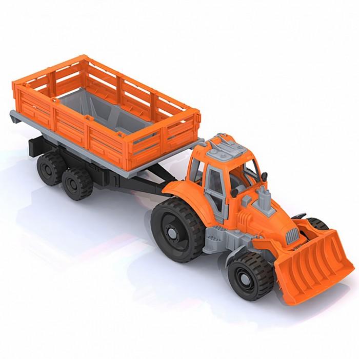 Машины Нордпласт Трактор с грейдером и прицепом 61х16.5х17.5 см