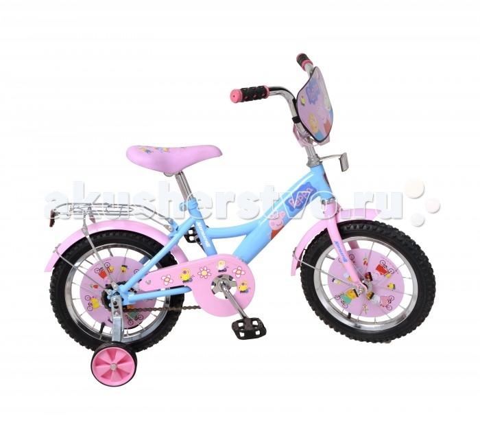 Велосипед двухколесный Navigator Peppa Pig 14 KitePeppa Pig 14 KiteВелосипед Navigator Peppa Pig 14 Kite - это хорошо собранный и надёжный велосипед для ребёнка. Модель подойдет для ребенка ростом 100-120 см. Детский велосипед с ярким дизайном и популярной лицензией Peppa Pig.  Велосипед оснащен багажной корзиной. Катание на велосипеде благоприятно влияет на здоровье, укрепляет мышцы, развивает зрение, учит ориентироваться в пространстве и принимать решения.   Особенности: Тип: детский Материал рамы: сталь Амортизация: отсутствует Конструкция вилки: жесткая Конструкция рулевой колонки: неинтегрированная, резьбовая Диаметр колес: 14 дюймов Материал обода: алюминиевый сплав Двойной обод: нет Шатун: односоставной Возможность крепления боковых колес: есть Боковые колеса в комплекте: есть Тип переднего тормоза: отсутствует Тип заднего тормоза: ножной Уровень заднего тормоза: начальный Количество скоростей: 1 Уровень каретки: начальный Конструкция каретки: неинтегрированная Тип посадочной части вала каретки: квадрат Количество звезд в кассете: 1 Количество звезд системы: 1 Конструкция педалей: платформы Конструкция руля: изогнутый Настройка положения руля: регулируемый подъем Материал рамки седла: сталь Комфорт: защита цепи, щиток на руле<br>