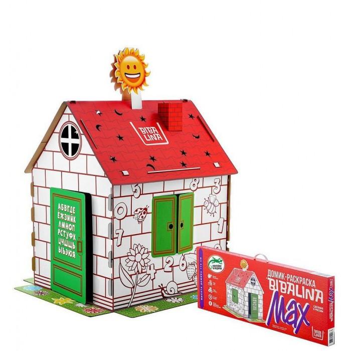 Фото - Игровые домики Bibalina Картонный домик с русским алфавитом и наклейками mochtoys раскраска картонный домик 10721