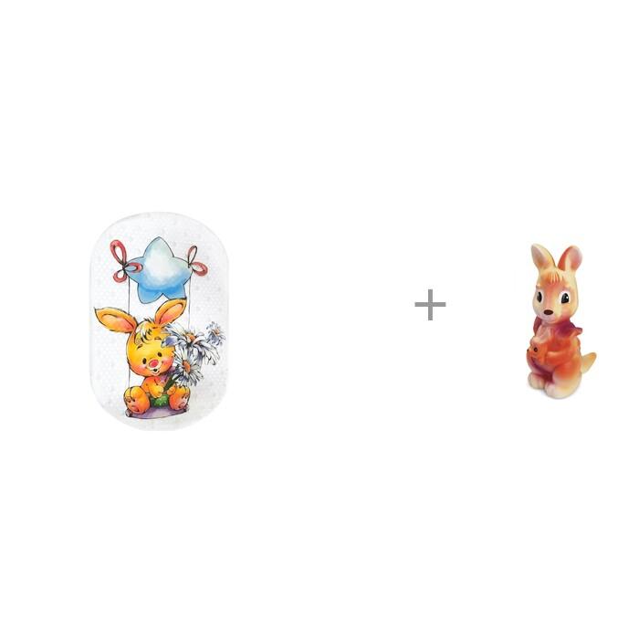 Купить Коврики для купания, Коврик Aqua-Prime Crystal Spa для ванны Зайка 68х38 см и игрушка Кенгуру Огонек