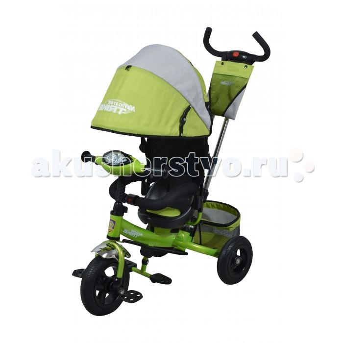 Велосипед трехколесный Navigator Lexus Т57598Lexus Т57598Велосипед трехколесный Navigator Lexus предназначен для того, чтобы ребенок увидел мир с другого ракурса и постепенно переходил с коляски на собственный транспорт. Популярная модель детского трехколесного велосипеда с ярким дизайном. Велосипед снабжен ручкой управления для родителей.  Особенности: Диаметр переднего/заднего колеса: 10/8 Широкие надувные колеса с пластиковыми дисками  Сиденье с регулируемой спинкой Конструкция руля прямой Тяга Безопасность и комфорт Ручка для родителей  Управление рулем Подставки для ног  Переднее крыло  Страховочный обод разъемный  Козырек от дождя Тканевая вставка на сиденье  Рюкзак на ручке  Задняя корзина (фиксированная) Тормоз на ручке Свето-музыкальная панель  Вес: 9.8 кг<br>