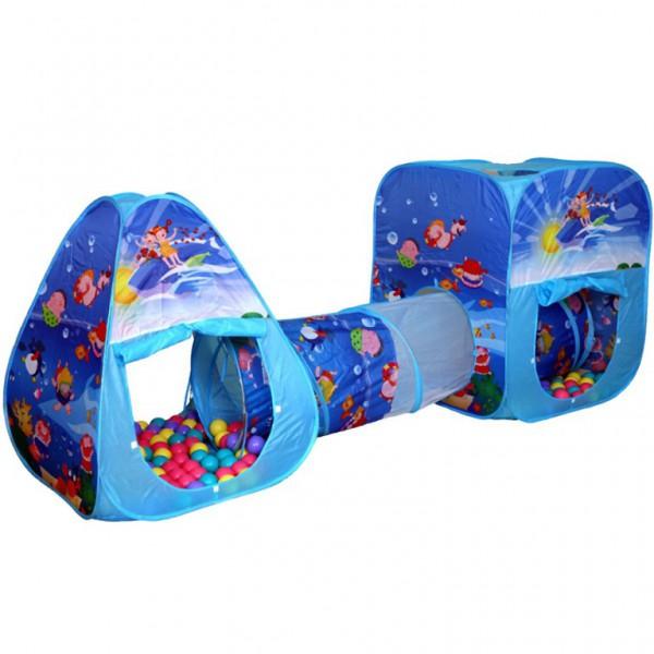 BabyOne Двойная палатка с тоннелем Океан CBH-06 + 100 шаров