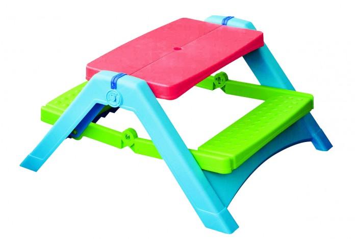 Palplay (Marian Plast) Стол для пикникаСтол для пикникаЯркий веселый комплект для отдыха, досуга и творчества детей от 1 годика. Замечательный столик и лавочки представляют цельный комплекс, подходят для использования как в помещении, так и на свежем воздухе. За таким удобным столиком можно рисовать, лепить, играть в настольные игры, творить и прекрасно проводить время на свежем воздухе!  Описание и характеристика:    Столик со скамеечками не требуют сборки — легко и просто раскладываются и сразу готовы к использованию и творению!  В центре столешницы есть отверстие для зонтика (в комплект не входит).  В сложенном виде компактно складывается и практически не занимает места.   Материал: яркий высокопрочный пластик, приятный на ощупь.  Размер столика:   в разложенном виде — 86х103х50h см,  в сложенном виде – 86х73х25 см;  столешница – 70х45 см, высота от пола 50 см;  скамейка – 65х18 см, высота от пола 25 см.   Размер упаковки: 86х73х26 см.<br>