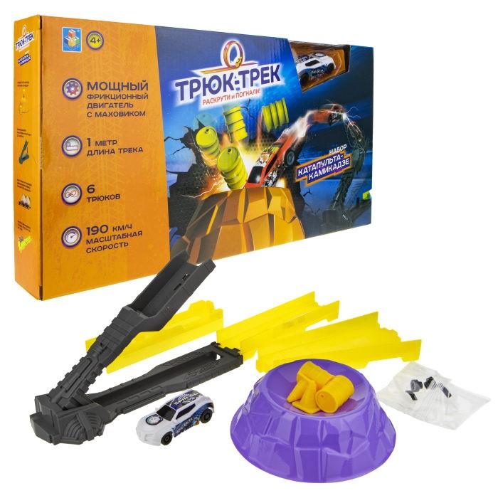 Машины 1 Toy Набор Трюк-трек Катапульта-камикадзе с машинкой и аксессуаром машины технопарк трек мини с катапультой и металлической машинкой s2785 r