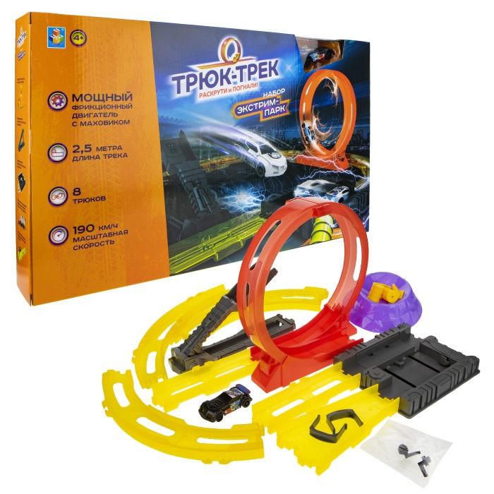 Машины 1 Toy Набор Трюк-трек Экстрим-парк с машинкой и аксессуаром машины технопарк трек мини с катапультой и металлической машинкой s2785 r