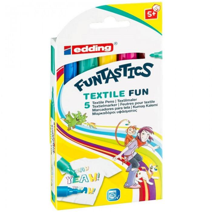 Канцелярия Edding Набор пулевидных маркеров по ткани 17 Funtastics 2-3 мм 5 цветов edding фломастеры 15 funtastics 1 мм 12 шт разноцветные