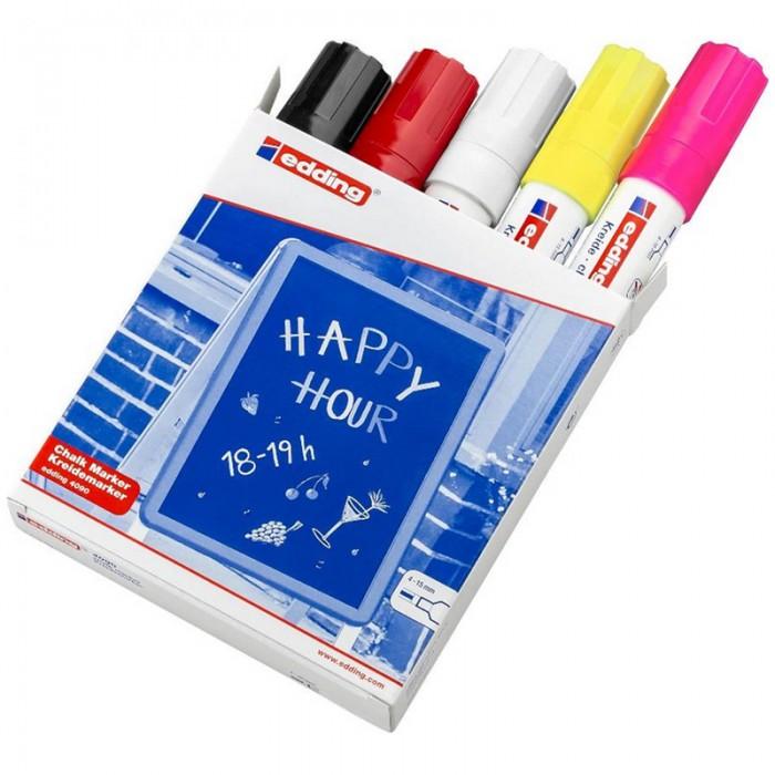 Фото - Канцелярия Edding Набор маркеров меловых на водной основе 4090 4-15 мм 5 цветов канцелярия edding маркер для окон e 4090 4 15 мм