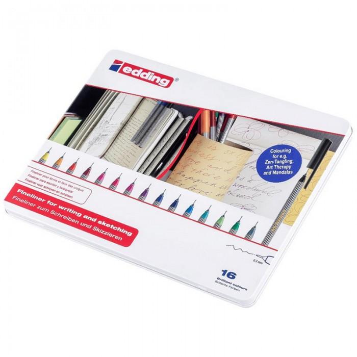 Купить Канцелярия, Edding Набор капиллярных ручек 55 в металлической упаковке 0.3 мм 16 цветов