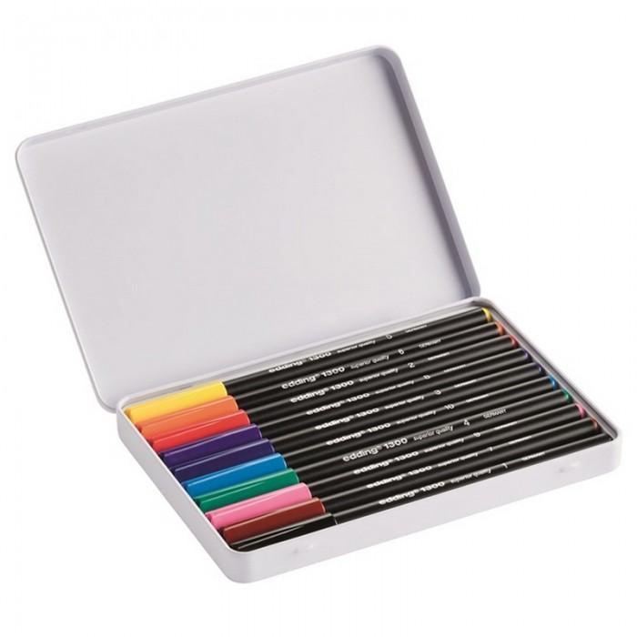 Фломастеры Edding набор 1300 в металлической коробке 2 мм 10 цветов