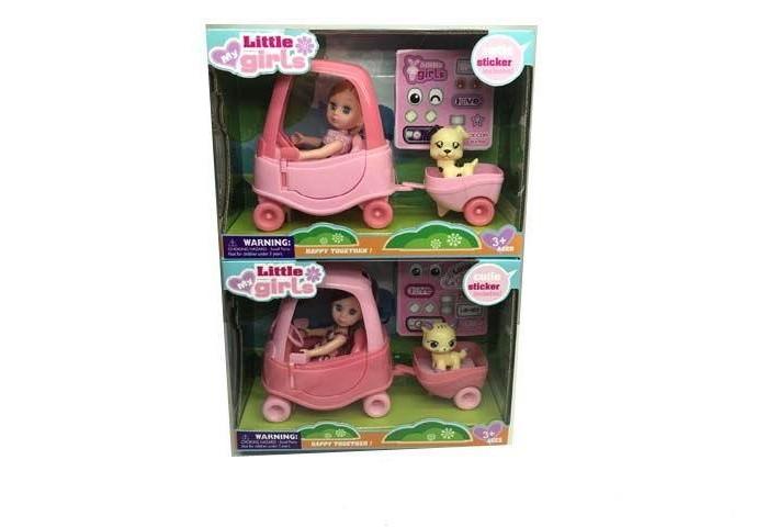 Игротрейд Кукла на машине с собачка в прицепе
