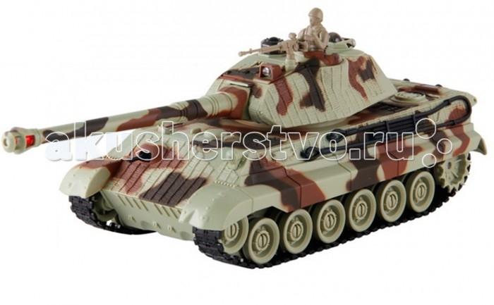 Yako Радиоуправляемый танк Королевский тигр 1:24Радиоуправляемый танк Королевский тигр 1:24Радиоуправляемый танк YAKO Королевский тигр может не просто перемещаться в пространстве, он и стрелять из автоматической пневматической пушки.    Особенности:   Масштаб 1:24  Частота 27 МГц.   Пушка с инфракрасным излучаетелем.   Радиус действия пульта -12 м.   Радиус передачи ИК сигнала - 8 м.   Время работы 15-20 минут.   Время зарядки - 4 часа.   Скорость танка - 6 км/ч.   Демо режим.   Функция автоотключения.   Имитация отката при выстреле.   Движение танка во все стороны.   Поворот башни на 320 градусов.   Подъём на наклонную поверхность при угле наклона - до 45 градусов.   Питание танка от аккумулятора (в комплекте) Ni Cd 600 mAh 4,8V.  Питание пульта управления - от 2-х батареек типа АА (нет в комплекте).<br>