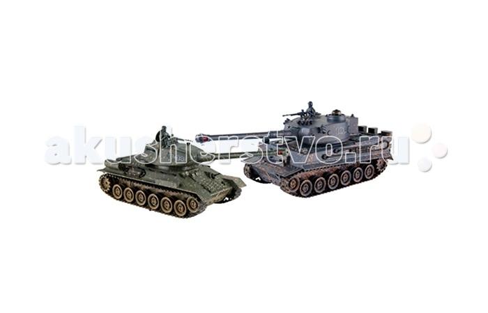 Yako Танковый бой Тигр против Т34Танковый бой Тигр против Т34Танковый бой YAKO Т34 против Тигра  В качестве снарядов танки выстреливают инфракрасными лучами на расстояние до 3 м. При выстреле происходит звуковая соответствующая имитация. У каждого танка, на задней стороне башни есть 4 светодиода - жизни машины.   Цель игры - уничтожить танк неприятеля. При попадании по танку его жизни уменьшаются - потухает светодиод, если все светодиоды потухли, значит Вы проиграли и танк больше не сможет исполнять Ваши сигналы. Так же следует отметить, что два танка имеют различные характеристики, но в целом силы равны.   Особенности:   Частота 27 МГц (А/С)  В наборе 2 танка 1:24.   Пушка с инфракрасным излучаетелем.   Индикатор уровня жизни.   Радиус действия пульта - 12 м.   Радиус передачи ИК сигнала - 8 м.   Время работы 15-20 минут.   Время зарядки - 4 часа.   Скорость танка - 6 км/ч.   Демо режим.   Функция автоотключения.   Имитация отката при выстреле.   Движение танка во все стороны.   Поворот башни на 320 градусов. Подъём на наклонную поверхность при угле наклона - до 45 градусов.   Световые и звуковые эффекты. Звук двигателя и выстрелов.    Питание танка от аккумулятора (в комплекте) Ni Cd 600 mAh 4,8V.  Питание пульта управления - от 2-х батареек типа АА (нет в комплекте).<br>