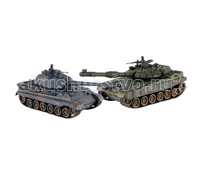Yako Танковый бой 1:24 Королевский тигр против Т90Танковый бой 1:24 Королевский тигр против Т90Танковый бой YAKO Т90 против Королевского тигра  В качестве снарядов танки выстреливают инфракрасными лучами на расстояние до 3 м. При выстреле происходит звуковая соответствующая имитация. У каждого танка, на задней стороне башни есть 4 светодиода - жизни машины.   Цель игры - уничтожить танк неприятеля. При попадании по танку его жизни уменьшаются - потухает светодиод, если все светодиоды потухли, значит Вы проиграли и танк больше не сможет исполнять Ваши сигналы. Так же следует отметить, что два танка имеют различные характеристики, но в целом силы равны.   Особенности:   Частота 27 МГц (А/С)  В наборе 2 танка 1:24.   Пушка с инфракрасным излучаетелем.   Индикатор уровня жизни.   Радиус действия пульта - 12 м.   Радиус передачи ИК сигнала - 8 м.   Время работы 15-20 минут.   Время зарядки - 4 часа.   Скорость танка - 6 км/ч.   Демо режим.   Функция автоотключения.   Имитация отката при выстреле.   Движение танка во все стороны.   Поворот башни на 320 градусов. Подъём на наклонную поверхность при угле наклона - до 45 градусов.   Световые и звуковые эффекты. Звук двигателя и выстрелов.    Питание танка от аккумулятора (в комплекте) Ni Cd 600 mAh 4,8V.  Питание пульта управления - от 2-х батареек типа АА (нет в комплекте).<br>