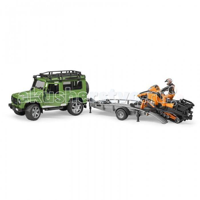 Bruder Внедорожник Land Rover Defender с прицепом, снегоходом и водителем 02-594