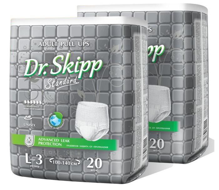 Фото - Подгузники для взрослых Dr. Skipp Белье впитывающее для взрослых Standard L-3 40 шт. абена abena абри джентельмен многоразовое впитывающее белье для мужчин xxl 1шт