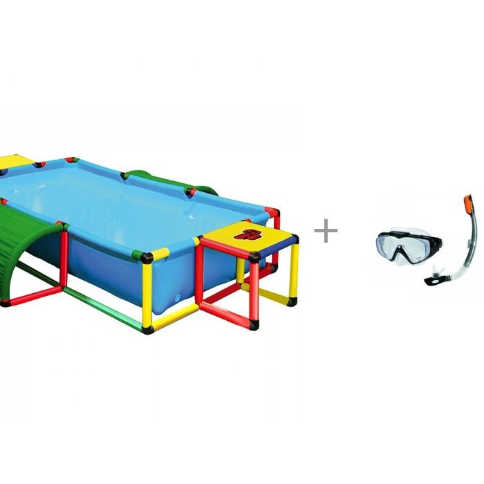аксессуары для плавания intex плавательный набор маска трубка аква Бассейны Quadro Бассейн Pool XXL и маска трубка аква Intex
