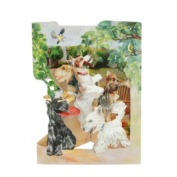 Купить Товары для праздника, Santoro London Объемная открытка Резвящиеся терьеры