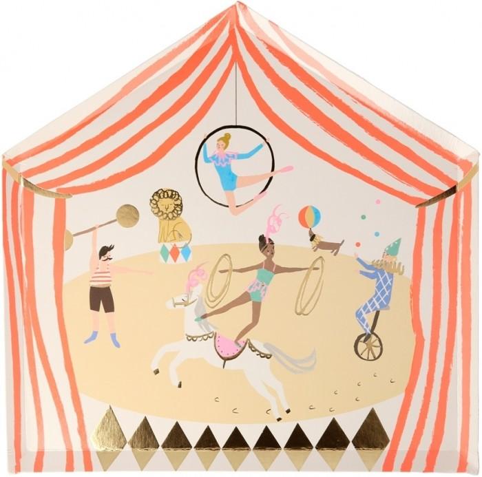 Товары для праздника MeriMeri Тарелки Цирк 8 шт. 203060 товары для праздника merimeri мини шляпы для вечеринки волшебная принцесса