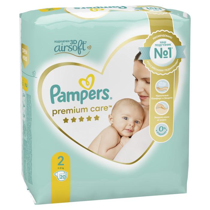 Подгузники Pampers Подгузники Premium Care Mini р.2 (4-8 кг) 20 шт. подгузники pampers premium care new baby 2 4 8 кг 160 шт