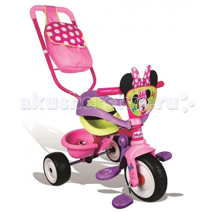 Велосипед трехколесный Smoby MinnieMinnieВелосипед трехколесный Smoby Minnie с сумкой - первое собственное транспортное средство ребенка!  Этот трехколесный велосипед обладает большим функционалом и трансформируется по мере роста крохи.   Пока малыш не овладеет навыками езды на велосипеде, родители могут катать ребенка, используя удобную съемную ручку, которая регулируется так же по высоте.  Трехколесный велосипед выполнен в ярком красочном дизайне.  При изготовлении велосипеда используется экологически чистый и особо прочный пластик, а также металл и резина.  Особенности: прочная металлическая рама;  комфортное сидение эргономической формы, регулируемое в трех положениях (ближе-дальше); съемные трехточечные ремни безопасности; регулируемый по высоте руль; во время использования родительской ручки – блокируется движение руля, и педалей; рифленые нескользкие педали; колеса изготовлены из пластика; объемная багажная корзинка, опрокидывающаяся путем нажатия; максимальная нагрузка - 20 кг. Родительская ручка не управляет поворотом руля.  Катание на велосипеде развивает у ребенка координацию движений, укрепляет мышцы ног, учит ориентироваться в пространстве, формирует начальные навыки вождения.<br>