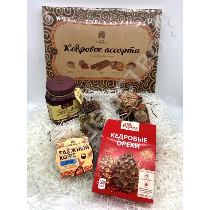 НатурВектор Подарочный набор Таёжный: орехи, сироп, мед, конфеты, кофе