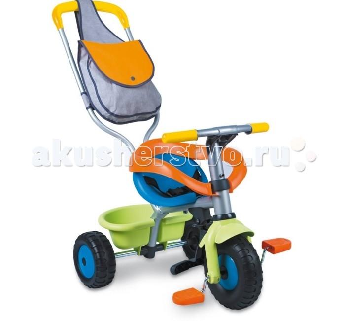 Велосипед трехколесный Smoby Be Fun ConfortBe Fun ConfortSTRONG>Велосипед трехколесный Smoby Be Fun Confort выполнен из высококачественной пластмассы и металла. Велосипед оборудован сиденьем с ремнем безопасности и пластиковой рамой, а также имеет небольшой багажник для игрушек.   Особенности: съемная ручка для родителей регулируется по длине и позволяет толкать велосипед вперед; на ручке расположена удобная сумка для различных мелочей; специальный механизм позволяет ребенку во время движения держать ноги на педалях;  имеется специальная подножка для ножек малыша;  расстояние между сиденьем и педалями регулируется (3 положения);  руль регулируется по высоте и может поворачивать;  багажник может подниматься и опускаться.  На этом замечательном велосипеде малыш будет чувствовать себя комфортно и безопасно. Когда малыш подрастет, ручку можно будет снять, и малыш сможет самостоятельно управлять велосипедом.  Размеры: 95х50х89 см<br>