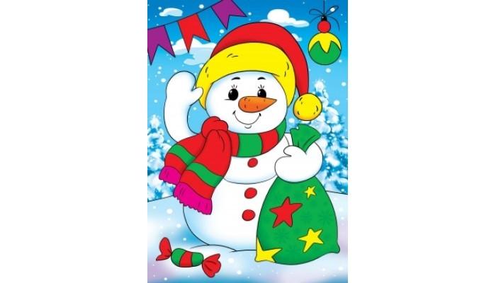 Фото - Картины своими руками Рыжий кот Алмазная мозаика Снеговичок с подарками 22х32 см рыжий кот мозаика круглая 110 фишек м 5656