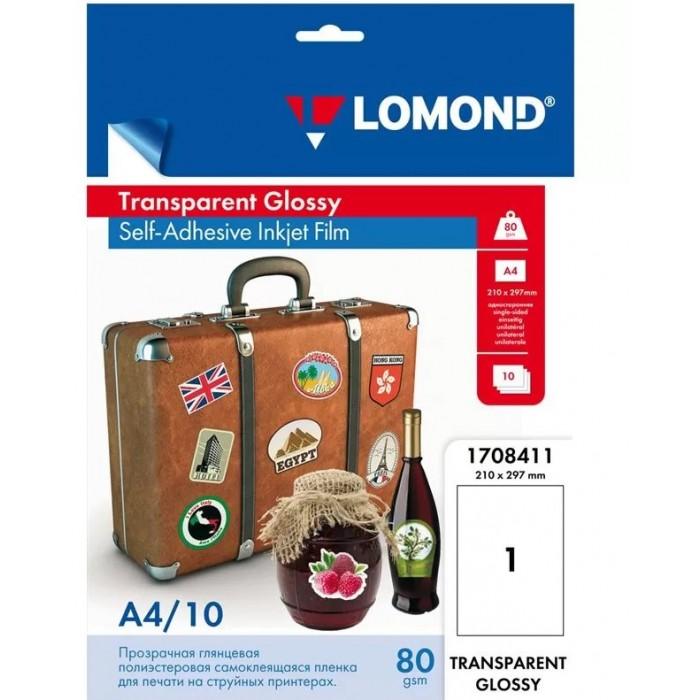Канцелярия Lomond Пленка самоклеящаяся глянцевая А4 для струйных принтеров 10 листов