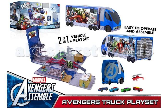 IMC toys Трек Мстители 390171Трек Мстители 390171Трек Мстители 390171 представляет собой грузовик с кабиной и съемным прицепом.  Это сразу это две игрушки в одной. Открывающийся трейлер скрывает внутри себя целую гоночную трассу.  В комплект входят 4 мини-машинки и 1 вертолет.<br>
