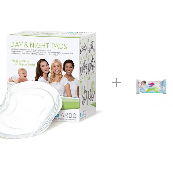 Купить Гигиена для мамы, Ardo Одноразовые прокладки для бюстгальтера Day&Night Pads 30 шт. и влажные салфетки L 20 шт.