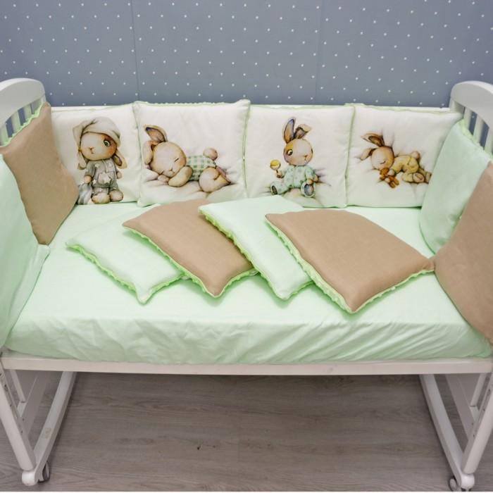 бортики в кроватку снолики совята Комплекты в кроватку Снолики Спящий зайка 4 предмета