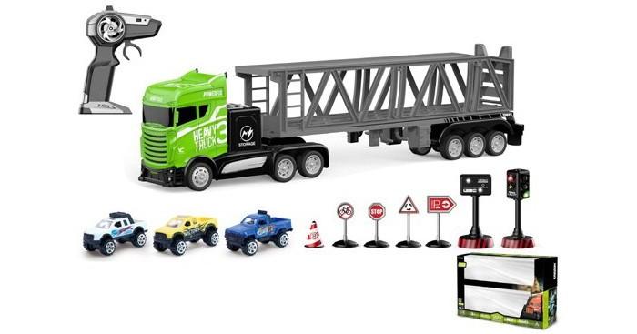 Фото - Радиоуправляемые игрушки Crazon Набор: машина на радиоуправлении с дорожными знаками и 3 машинками бульдозер технопарк с дорожными знаками u1408a 4 12 5 см оранжевый