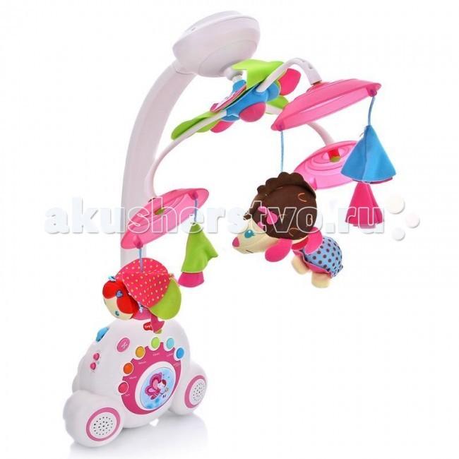 Мобиль Tiny Love Бум-бокс Моя принцессаБум-бокс Моя принцессаБумбокс – новое слово в игрушках для новорожденных, впервые в мобиле применяется идея функциональной трансформации. Эта игрушка точно не потеряет своей привлекательности для малыша на протяжении первых 3 лет жизни.   Первый вариант – классический мобиль, который будет радовать и убаюкивать вашего малыша на протяжении первых 5 месяцев.   Второй вариант – Классический ночник для малыша, который будет успокаивать и баюкать подросшего малыша.   Третий вариант – Ваш малыш уже стал подрос, он ходит, играет, и любит подражать старшим и тут вы преподносите ему его первый в жизни собственный магнитофон, со светящимися клавишами более чем 15 вариантами мелодий, который можно взять с собой на прогулку и похвастаться перед друзьями.  Общая продолжительность звучания мелодий более 40 минут, в мобиль запрограммировано 6 типов мелодий: джаз, классика, природа, всемирные хиты, колыбельные и даже белый шум. Всего Бумбокс может воспроизводить более 15 мелодических тем, выбор которых можно производить как по разделам, так и в случайном порядке. Размер дуги: 48х30х7см<br>