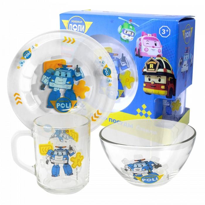 Посуда ND Play Набор матовой стеклянной посуды Робокар Поли (3 предмета)
