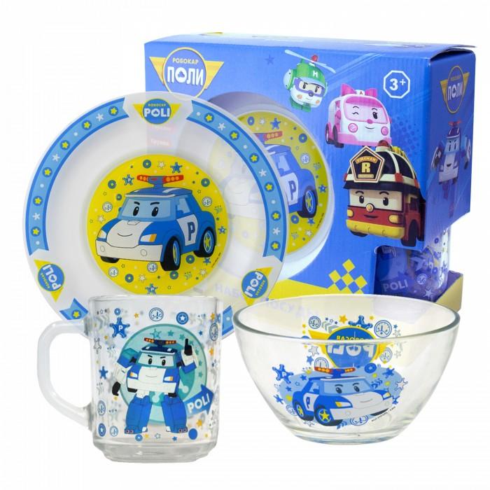 Посуда ND Play Набор стеклянной посуды Робокар Поли (3 предмета)